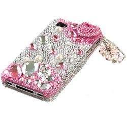 Apple Iphone 4/4S Pink Charms Design 3D Premium Rhinestone Diamond