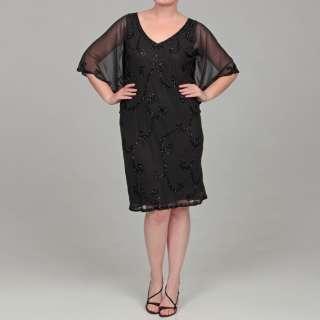 Kara Womens Plus Size Sequin V neck Dress