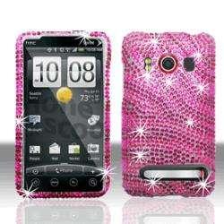 Hot Pink Zebra Rhinestone HTC Evo 4G Protector Case