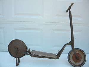Antique 1920s Metal & Wood Scooter Vintage Child Toy Primitive