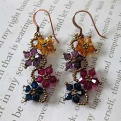 Sterling Silver Multi colored Crystal Flower Earrings (USA