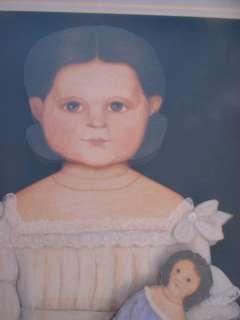 Folk Art Framed Paper Girl with Doll