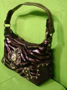 Leatherette Handbag Purple Black Zebra Bling Cross Kid girl Women