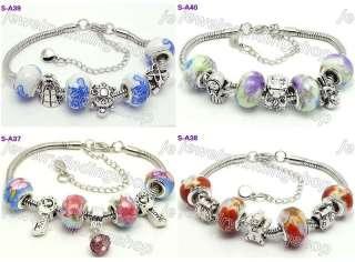 4pc mixed murano glass beads European charm bracelet 10