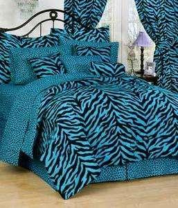 ZEBRA Blue 8pc Queen Bed in a Bag comforter set Animal