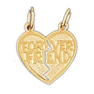 14kt Yellow Gold Forever Friend In Heart Pendant Jewelry