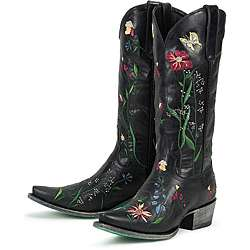 Lane Boots Womens Garden Black Leather Cowboy Boots