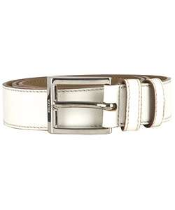 Prada White Leather Belt with Silver Buckle