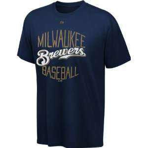 Milwaukee Brewers Navy Luxury Box T Shirt Sports