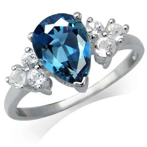 . Natural London Blue & White Topaz 925 Sterling Silver Cocktail Ring