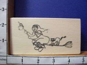 HALLOWEEN WITCH CAT BROOM rubber stamp 14B