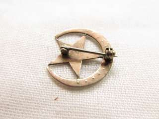 Vintage Gold Crescent Moon Seed Pearl Eastern Star Masonic Pin