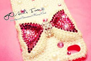 PINK BOW iPhone 4 Bling Crystal & Pearl Case Handmade HIGH QUALITY