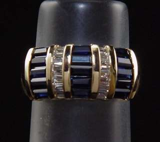 Estate 14K Natural Sapphire Diamond Baguette Ring 1.75 Carat