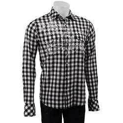 Vintage Red Mens Embroidered Black/ White Check Shirt