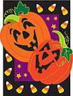 0806FL   Large Flag   Pumpkins and Candy Corn applique