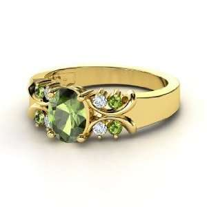 Gabrielle Ring, Oval Green Tourmaline 14K Yellow Gold Ring