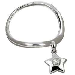 14k White Gold Dangle Star Diamond Ring