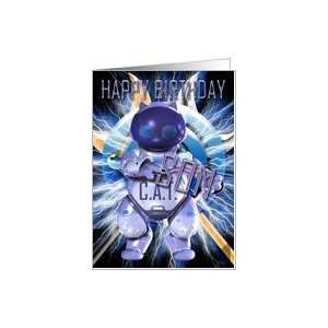 Happy Birthday Son, Robot Cat, Techno Modern Card: Toys