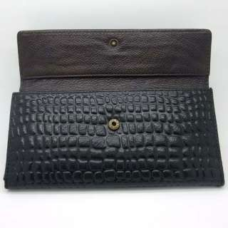 Womens Black Embossed Genuine Real Leather Clutch Wallet Purse