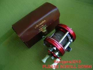 VERY NICE! VINTAGE RED ABU GARCIA AMBASSAD 5000 FISHING REEL & case