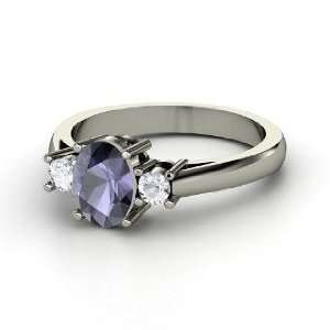 Ashley Ring, Oval Iolite Palladium Ring with White Sapphire Jewelry