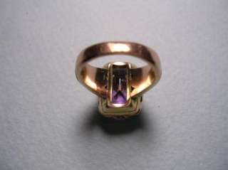 PRETTY ANTIQUE VICTORIAN 14K GOLD AMETHYST FORGET ME NOT RING