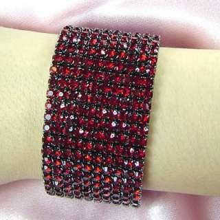 10 Row Bridal Fashion Ruby Red Rhinestone Bracelet B920