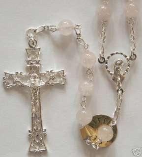 Sterling Silver Pink Rose Quartz Catholic Italia Rosary