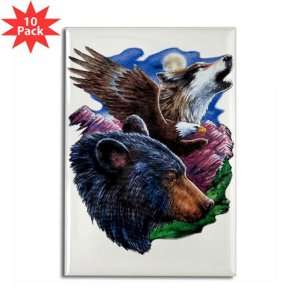 Rectangle Magnet (10 Pack) Bear Bald Eagle and Wolf: Everything Else