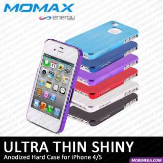 Momax Ultra Thin Shiny Metallic Case Cover iPhone 4 4S Free Protector