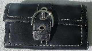 COACH BLACK LEATHER WALLET PURSE BAG
