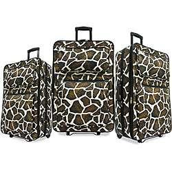 Giraffe Print 3 piece Luggage Set