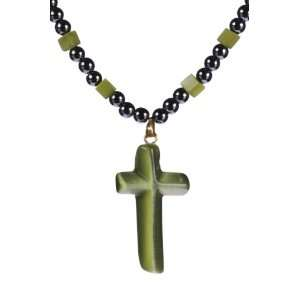 Green Cats Eye Cross on Hematite Necklace 24 Jewelry
