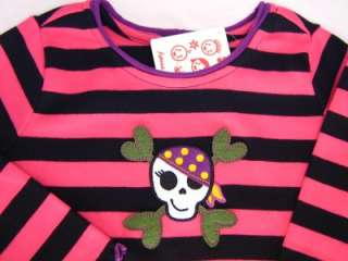 New NWT Hanna Andersson Striped Skull Halloween Shirt 120 6 7 8