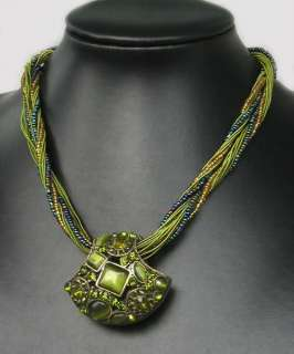 Nice Tibetan COPPER Green OPAL CRYSTAL Pendant NECKLACE |