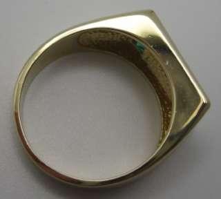 Mens 14k Yellow Gold Ring Black Onyx Diamond & Syn Emerald Channel
