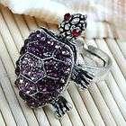 1x purple crystal tortoise adjustable cocktail ring s6 buy it