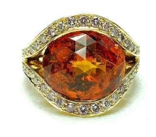 WOW 18k yellow Gold Mandarin Citrine Diamond Ring