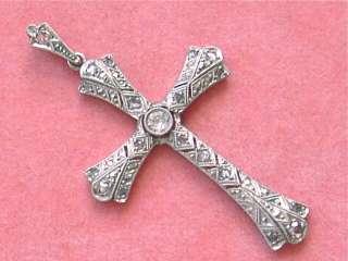 ANTIQUE ART DECO .43ctw DIAMOND PLATINUM CROSS PENDANT 1920