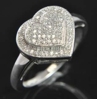 14K White Gold Natural Diamond Pave Heart Cocktail Ring