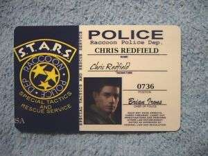 Resident Evil STARS RPD ID Card Chris Redfield Cosplay