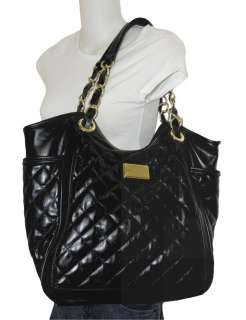 QUILTED FAUX LEATHER LUSH LIFE BLACK EXTRA LARGE TOTE BAG nwot