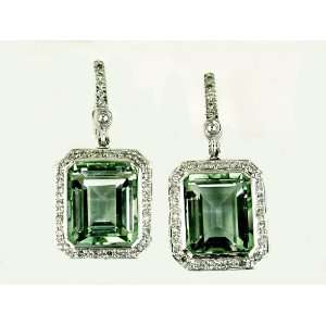 Ladies Diamond & Green Amethyst Earring in 14K White Gold (TCW 12.02).