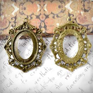 10 Antique Vintage Brass Style Oval Cameo Cabochon Settings Charm