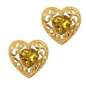 0.94 Ct Heart Shape Citrine and Topaz Gold Plated Silver