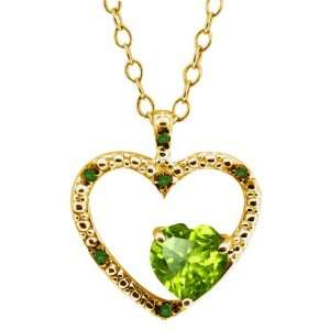 0.87 Ct Heart Shape Green Peridot and Diamond Yellow Gold