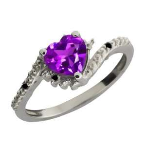 0.76 Ct Heart Shape Purple Amethyst and Black Diamond