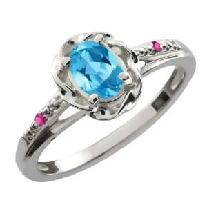 0.57 Ct Oval Swiss Blue Topaz Pink Sapphire Sterling