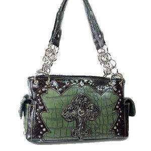 GREEN MONTANA WEST RHINESTONE CROSS WESTERN PURSE HANDBAG
